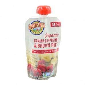 Earth's Best Organic Banana Raspberry Brown Rice Puree Pouch 6mth+